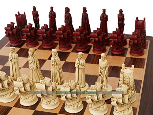 Berkeley Chess Elizabethan Ornamental Chess Set (Cream and Red, Board Not Included)