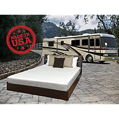 TRAVEL HAPPY WITH A 8 INCH NARROW KING 72 X 80 Inches Cool Sleep Gel Memory Foam Mattress With Premium Textured 8 Way Stretch Cover For Campers Rv S And Trailers MADE IN THE USA