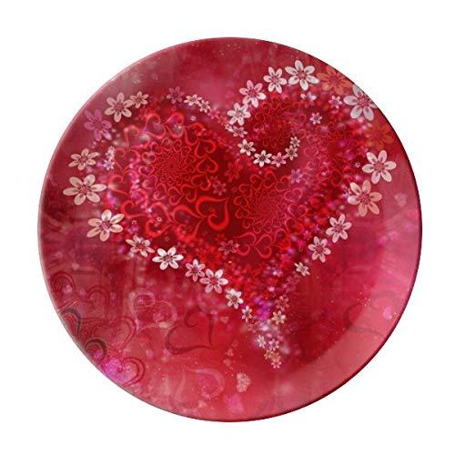 VunKo Valentines Day Flowers Love 8 Inch Plate Ceramic Dinner Plate Dinnerware Stoneware Home Decro Round Dish Dessert Plate Red ()