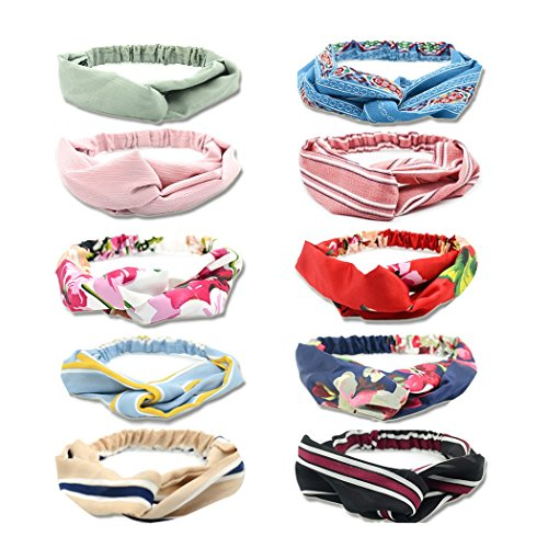Fashion Headbands for Women Girls, Hatisan Elastic Floral Print Headwraps Headwear, Twist Knot Cross Hair Band Hair Accessories for Fitness Yoga Dancer Party Prom (Assorted Colors, Pack of 10)
