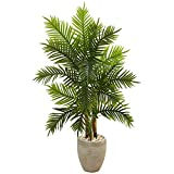 Nearly Natural 5650 5' Areca Palm Tree in Sand Colored Planter (Real Touch) Artificial Plant, Green