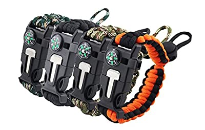 DeerReed Outdoor Paracord Survival Bracelet Kit Compass Cutter Fire Starter Whistle Fishing Gear for Hiking Camping Hunting