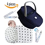 Baby Shower Gift Newborn Swaddle Muslin Swaddle Blanket Pacifier Clip Carseat Cover Nursing Cover Choose from Different Colors Bundles 7-in-1 Cover with Pocket Navy