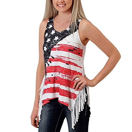 (VEZAD Women's Sleeveless Stars Striped Print Asymmetric Hem Vest Tops for 4th of July)