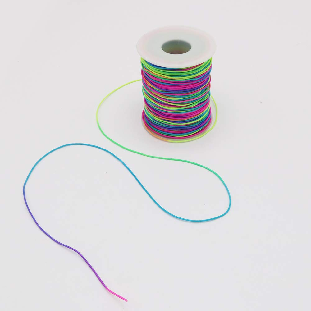 Jewelry Making and Crafts 328 Feet Colorful Beading Cord Stretchy String for Bracelets Tenn Well 1mm Elastic Cord Necklace