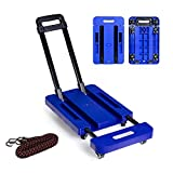 YOUDirect Folding Hand Trucks - 440lb 6 Wheels Foldable Luggage Cart Hand Collapsible Stretched Truck with Free Rope for Shopping Warehouse Delivery Goods (Blue)