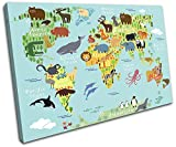 Bold Bloc Design - Animal Kids Nursery World Maps Flags 90x60cm SINGLE Canvas Art Print Box Framed Picture Wall Hanging - Hand Made In The UK - Framed And Ready To Hang