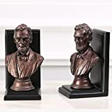 LPY-Set of 2 Bookends Resin Statue Style Crafts, Book Ends for Office or Study Room Home Shelf Decorative