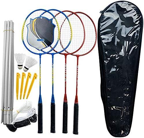 LQKYWNA 4 Spieler Badminton Set mit Combo Net System 6 Beiträge Training Tools Kompletten Badminton Turnier Set Ideal für Familien im Freien Garten-Spielen