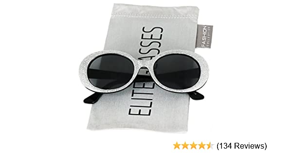 72b46d5439 Amazon.com  Clout Goggles Oval Mod Retro Thick Frame Rapper Hypebeast  Eyewear Supreme Glasses Cool Sunglasses (Black Glitter