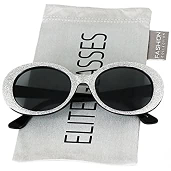 8c94e298e5d Amazon.com  Clout Goggles Oval Mod Retro Thick Frame Rapper ...