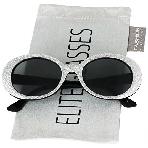 Clout Goggles Oval Mod Retro Thick Frame Rapper Hypebeast Eyewear Supreme Glasses Cool Sunglasses (Black / Glitter, 51)