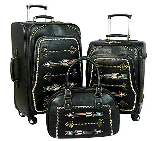 Heart Purse Valet - Montana West Arrow Collection 3 PC Luggage Set -Black