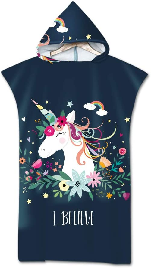 Sticker superb 3D Unicornio Ni/ña Rosado Negro Cambiando T/única Toalla Poncho con Capucha Floral P/ájaro Playa Toalla Galaxia Luna Lobo Animal Nadando Traje de Neopreno Cambiando para Surf Swim Beach