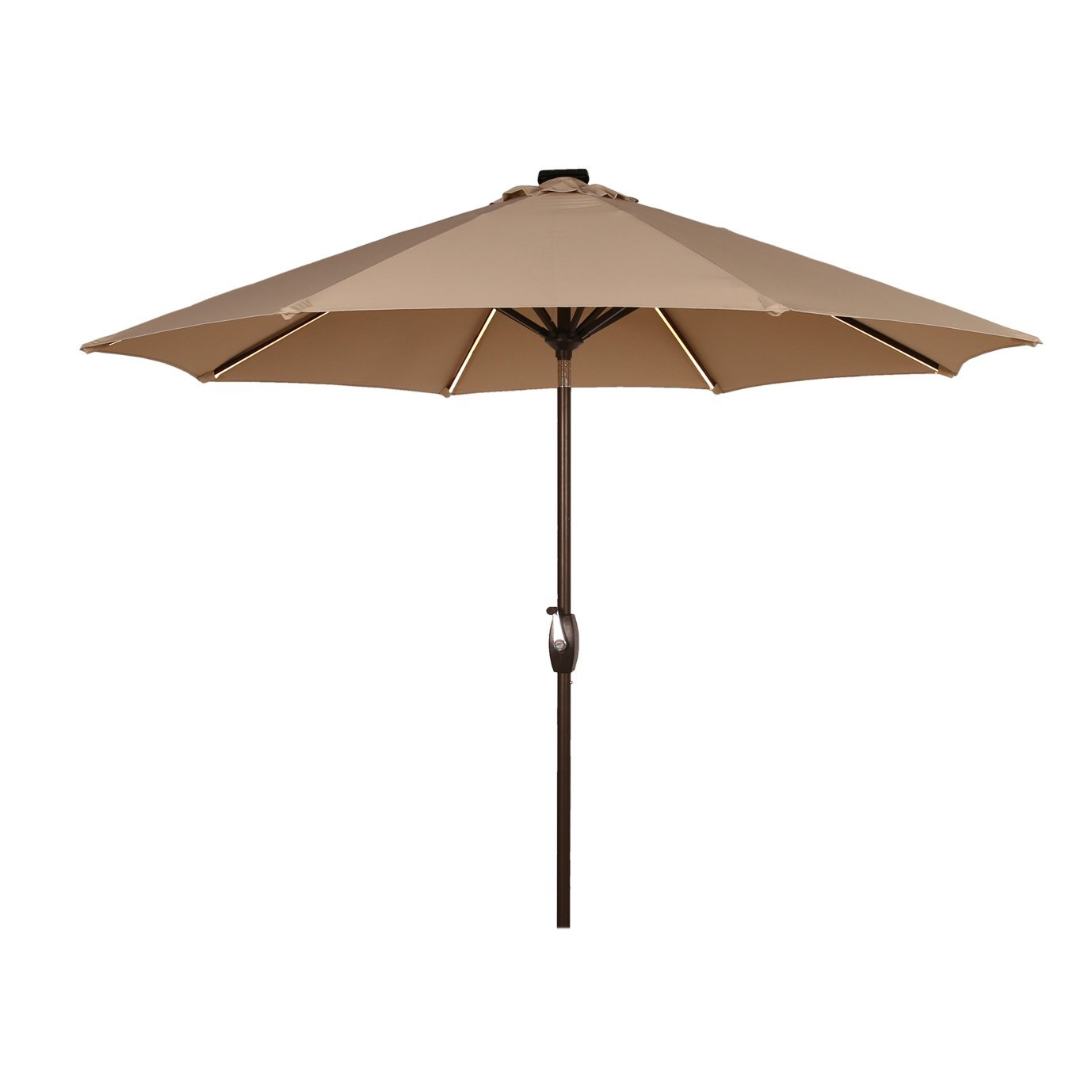Ulax Furniture 9 Ft Solar Powered LED Lights Patio Umbrella Aluminum Outdoor Market Umbrella with Tilt and Crank system, Air Vent, 100% Polyester, Beige by Ulax furniture (Image #2)