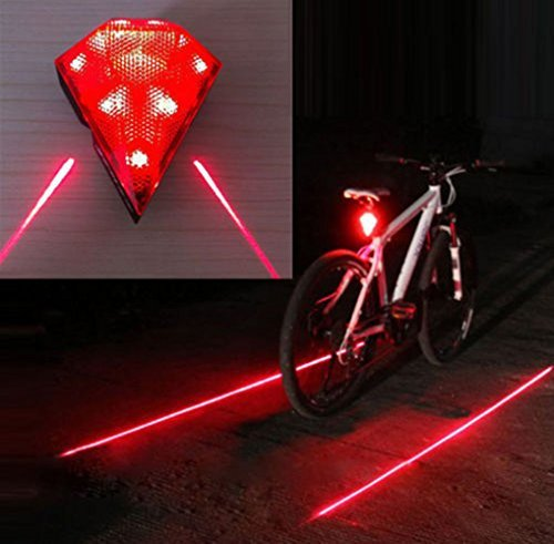 Cycling Bicycle Bike Rear Tail Safety Warning 8 LED+ 2 Laser Flashing Lamp Light