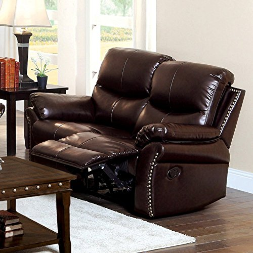 Furniture of America Norfolk Bonded Leather Loveseat with Nailhead Trim - Rustic Dark Brown (Leather Loveseat With Nailhead Trim)