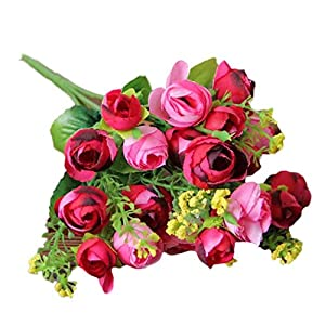 YRD TECH Pastoral Style Artificial Flower Artificial Bouquet Flowers Home Decoration Wedding Decorative Flowers (Hot Pink) 62