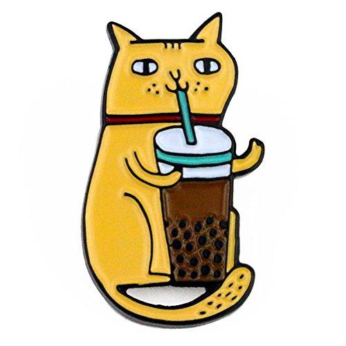 BADGE BOMB Bubble Tea Cat Enamel Pin Gemma Correll ()