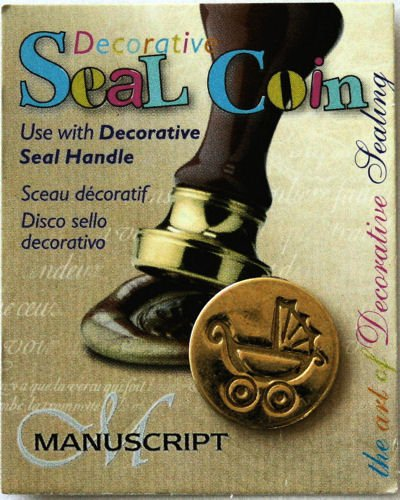 Manuscript Pen 727PRM Decorative Seal Coin, 0.75-Inch, Pram Baby Carriage (Wax Scrapbooking)