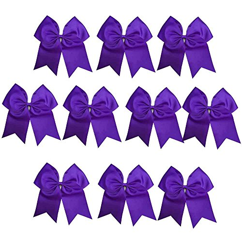 CN Girls Cheerleader Bow with Ponytail Holder for Cheerleading Girl, 7inch, 10pcs Purple Large Hair Bow