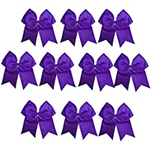 CN Girls Cheer Bow with Ponytail Holder for Cheerleading Girl Pack of 10