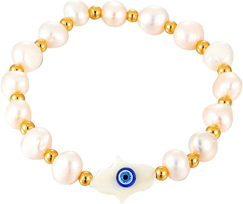 NOBRAND Mal de Ojo Pulsera Ojos Azules Perla Natural de la joyería Brazalete de Cuentas Compromiso (Color : Hamsa)