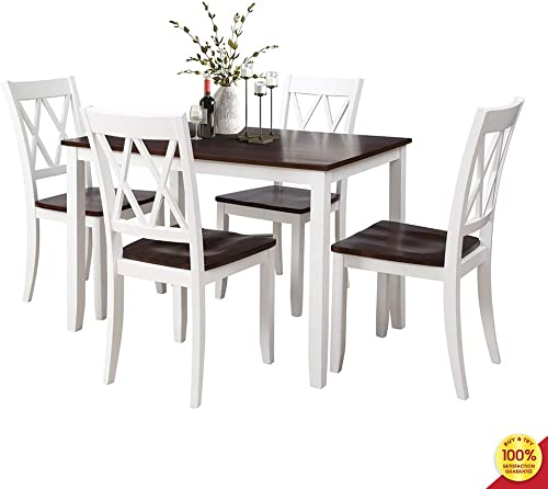MOOSENG, 5 Pieces Dining Set, Wood Elegant Table and 4 High-Back Chairs, Perfect for Kitchen, Breakfast Nook, Living Room Occasions, White