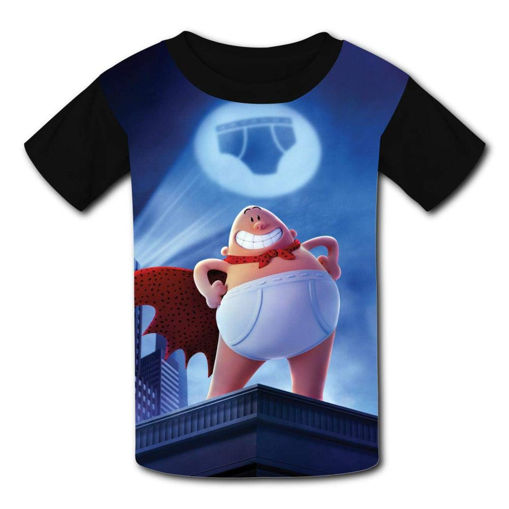 MOEYBOR Cap-Tain-UN-Der-Pants Night T-Shirts,Fashion Summer Tee for Kids//Teen//Boys//Girls