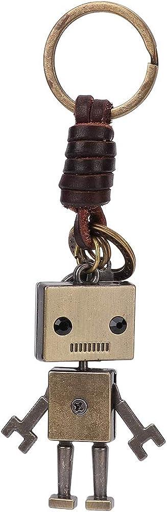 Hztyyier Llavero Colgante de Robot Vintage, Llavero de Cuero Trenzado con cordón, Adorno, decoración de Llaves