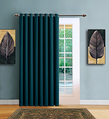 Sliding Divider (Warm Home Designs 1 Panel of Blue Teal Blackout Patio Door Curtains. Each Extra Wide Insulated Thermal Sliding Door or Room Divider Curtain Is 102