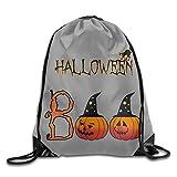 Sokie Halloween Boo With Pumpkin Gym Drawstring Backpack/Travel Bag