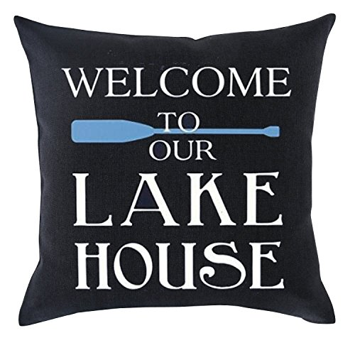 (Welcome to Our Lake House Cotton Linen Throw pillow cover Cushion Case Holiday Decorative 18