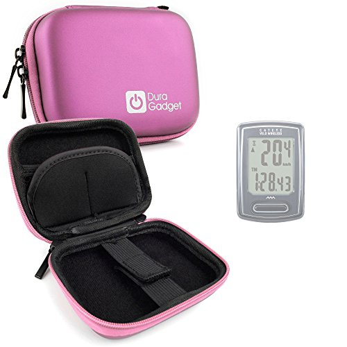 DURAGADGET Pink Hard EVA Shell Case with Carabiner Clip & Twin Zips - Compatible with Cateye Velo Wireless, Strada, Velo 7 et 5, Cateye Strada Cadence, Velo 9 & Micro Wireless Cycling Computers -