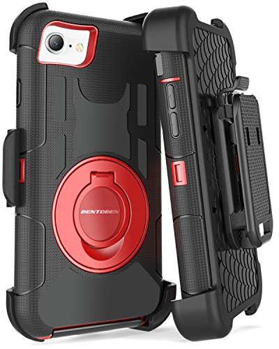 iPhone 8 Case, iPhone 7 Case, BENTOBEN Heavy Duty Full Body Rugged Rotating Kickstand Swivel Ring Belt Clip Holster Hybrid Shockproof Protective Tough Phone Case Cover for iPhone 8/iPhone 7, Black/Red Black Rugged Holster