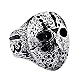 ink2055 Punk Rock Rings for Men Jason Hockey Mask Horror Skull Finger Ring Finger Jewelry Gift - Antique Silver US 7