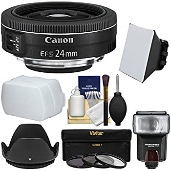 Canon EF-S 24mm f/2.8 STM Wide Angle Lens with Flash & Soft Box + Diffuser + 3 Filters + Kit for EOS & Rebel DSLR Cameras