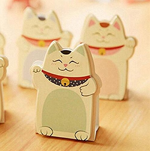 Wendin Pack of 6 Sets Cute Lucky Cat Shaped Sticky Notes Gift for Students Children, Style May Vary (Notepad Adhesive Sticky 3')