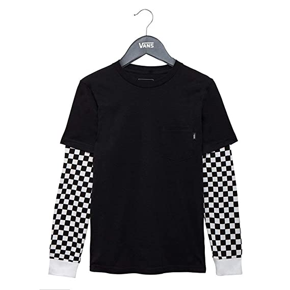 f38ef6a6a7 Vans Long Sleeve T-Shirt - Checker Sleeve Two Fer Black Size  116-128 cm  Tall - 6 to 8 Years  Amazon.co.uk  Clothing
