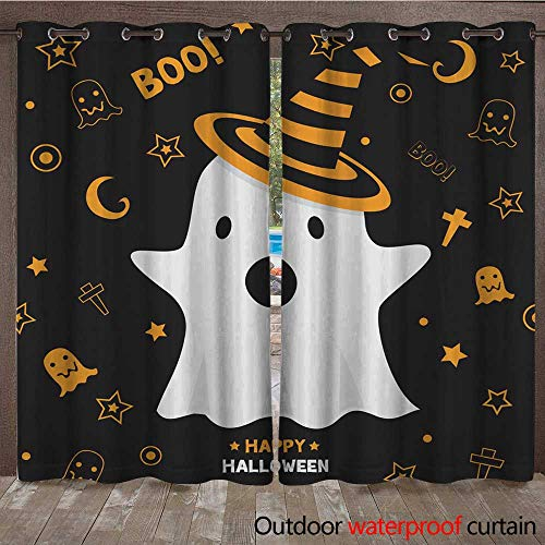 RenteriaDecor Outdoor Curtains for Patio Sheer Halloween Ghost W96 x L108