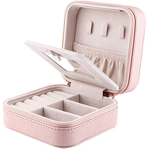 YAPISHI Travel Jewelry Box Organizer, Faux Leather Small Jewelry Bag Portable Storage Case for Earrings Rings Necklace Bracelet Watch (Pink)