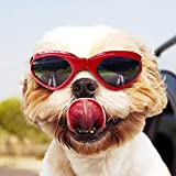 Homesupplier Dog Goggles Doggie Sunglasses for Small Medium Pets Dogs Glasses Puppy Eyewear Windproof UV Protection, Vet Recommended Eye Protection (Red)