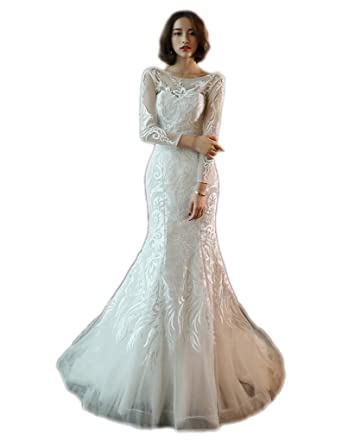 cb995af8da5a Women's Sexy Backless Bridal Wedding Dresses, Lace Appliques Bridal Dress, Long  Sleeve Wedding Gown