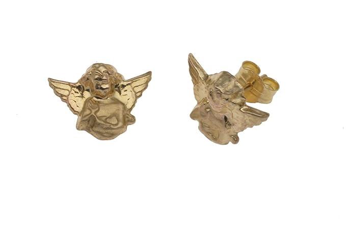 Adara 9 ct Gold Cherub Earrings 6Xg3C