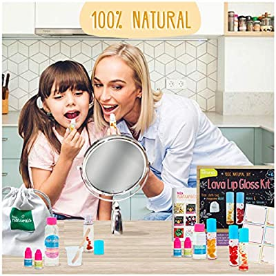 Kiss Naturals Kids Lip Gloss Making Kit - DIY Lip Gloss Kit Make Your Own Lava Effect - All Natural Fun Art Projects for Kids Crafts - Made in North America: Toys & Games