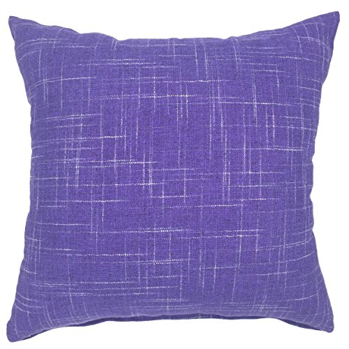 YOUR SMILE Solid Purple Square Cotton Linen Decorative Throw Pillow Case Cushion Cover Pillowcase for Sofa 22 x 22 Inch ()