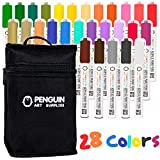 Dual Tip Acrylic Paint Pens: Craft Paint Markers for Painting Wood, Glass, Rock, Ceramic, Porcelain - Non Toxic Reversible Paint Pen with Thick 5mm Tip and 3mm Fine Tip - 28 Pens with Zipper Pouch
