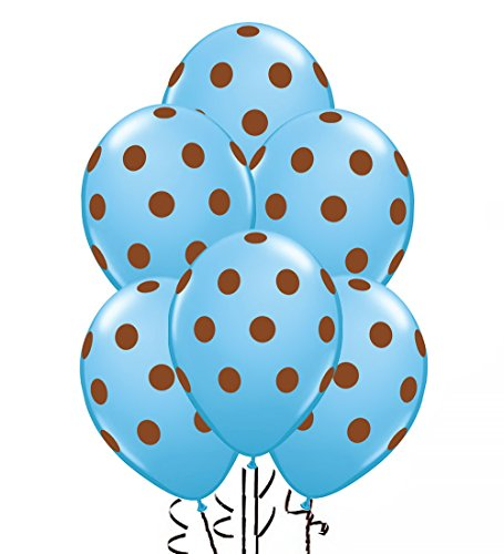 (Polka Dot Balloons 11in Premium Baby Blue with All-Over print Brown Dots)