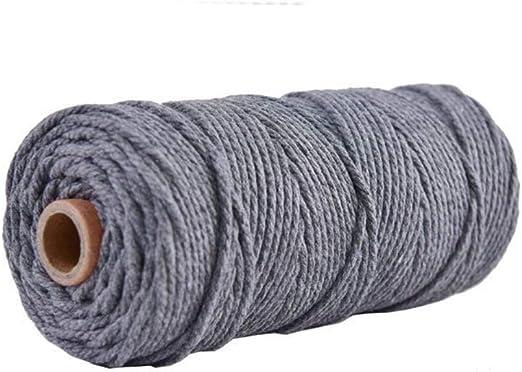 Cuerda trenzada de macram/é de 3 mm de color 100 m cuerda de algod/ón te/ñido de color gris oscuro para tuber/ía de cuerda de lavado para muebles y colgar en la pared Lake blue