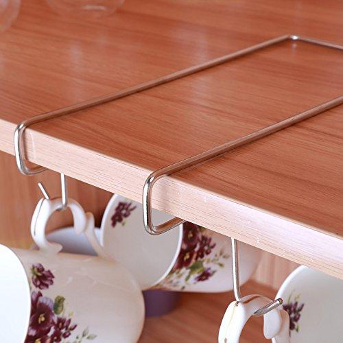 Widelin Cup Holder under Shelf with 10 Hooks Mug Holder Rack under Cabinet